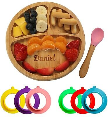 £15.95 • Buy Personalised Baby Plate Bamboo, Bamboo Plates With Suction Stay Put Plate Circle