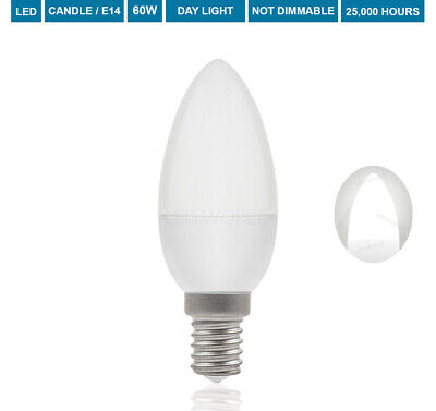£5.99 • Buy 60W LED Candle Bulb Candle E14 Small Edison Screw Cap Daylight Candle SES 8W