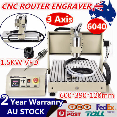 AU1230 • Buy 3 Axis CNC 6040 Router Engraving Metal Wood Milling VFD Machine DIY Cutter 1.5KW