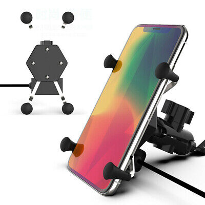 AU20.33 • Buy Universal Motorcycle Phone Holder X-Grip Clamp Mount USB FAST Charge Adjutable