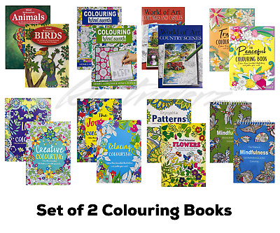 Adult Colouring Books Colour Therapy Anti-Stress  Books Stress Release Set Of 2  • 4.49£