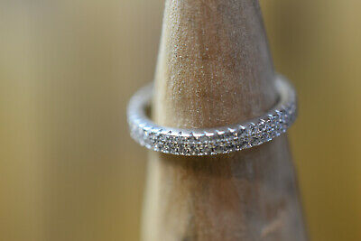 Sterling Silver Cubic Zirconia Eternity Style Ring Size M • 17.99£