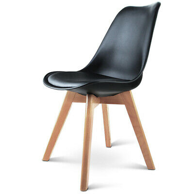 AU192.90 • Buy Artiss Retro Dining Chairs Kitchen Cafe Wooden Padded PU Leather Chair Black X4