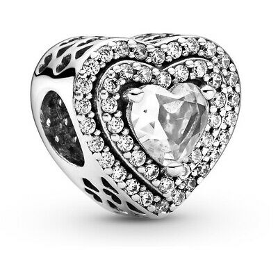 £13.79 • Buy Genuine PANDORA Sparkling Levelled Hearts Charm Silver S925 ALE Bead 799218C01
