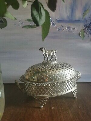 Large Victorian Silver Plated Cow Butter Dish White Glass Liner • 240£