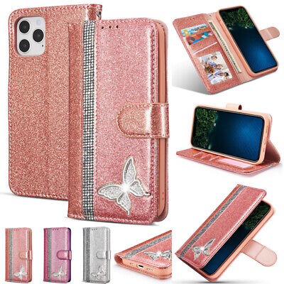 AU15.89 • Buy For IPhone 11 12 Pro Max XR 7 8+ Glitter Magnetic Leather Wallet Flip Case Cover