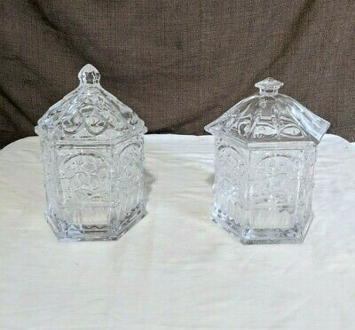 Two Vintage Pressed Glass Clear Apothecary Candy Jars Banister With Lids • 17.73£