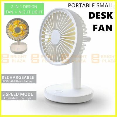 AU24.95 • Buy Portable Small Desk Fan Cooler Cooling USB Rechargeable Desktop Night Light