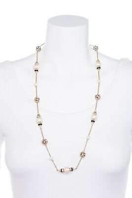 $ CDN41.87 • Buy KATE SPADE Pearl Rhinestone Station Necklace Gold Chain Jewelry Black Long