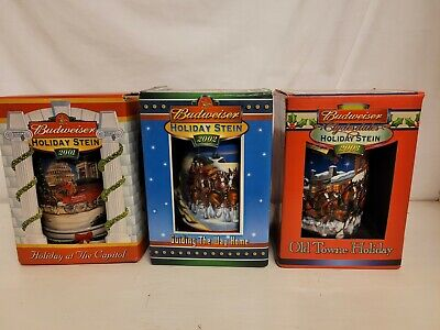 $ CDN37.43 • Buy Budweiser Holiday Stein 3 Lot 2001 & 2002 & 2003