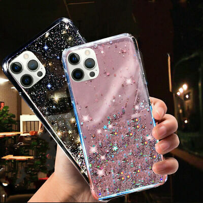 GLITTER STARS CASE For IPhone 11,XR,12,Pro Max,SE,7,8 Plus,XS BLING Phone Cover • 3.29£