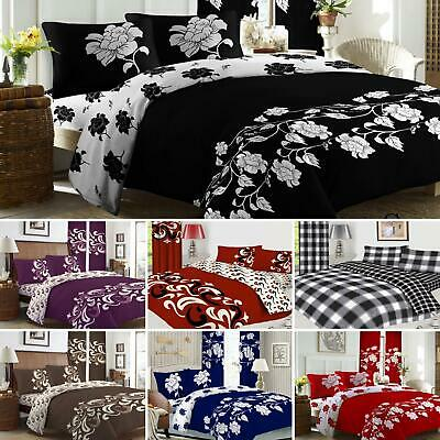 £22.99 • Buy Complete 4Pcs Bedding Set Duvet Cover Fitted Sheet Pillowcase-OR-Curtains