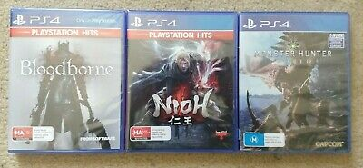 AU90 • Buy New PS4 Playstation 4 Games Bundle - Nioh & Bloodborne & Monster Hunter World