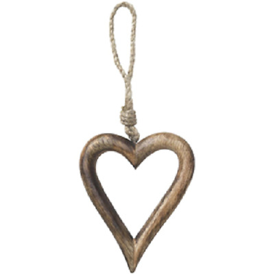 Dark Wooden Farmhouse Home Rustic Carved Open Heart Hanging Decoration 11x10cm • 4.99£
