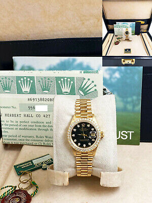 $ CDN16403.58 • Buy Rolex Ladies President 69138 18K Gold Original Diamond Dial And Bezel Box Papers