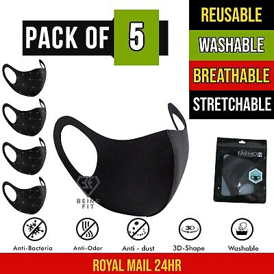 5 X Breathable Air Flow Green Mask Washable Face Mouth Protection With Filter UK • 3.99£