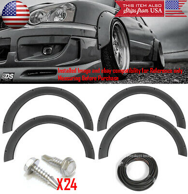 $89.88 • Buy 4 Pcs F+R Arch Satin Black 2.3  Wide Body Kit Fender Flares Extension For Subaru