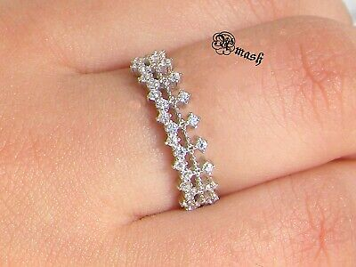 Genuine Silver Cz Crystal Dainty Ring,Crown Stackable,half Eternity Art Deco.... • 15.50£