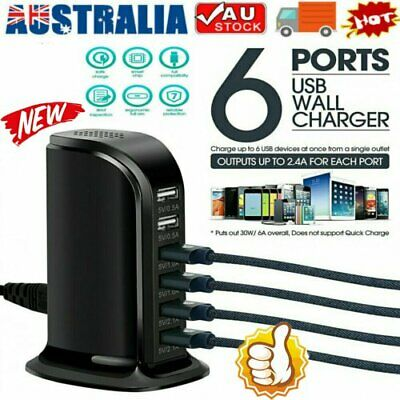 AU19.86 • Buy 6 Port Charging Station USB Desktop Charger Rapid Tower Power Adapter Wall AL