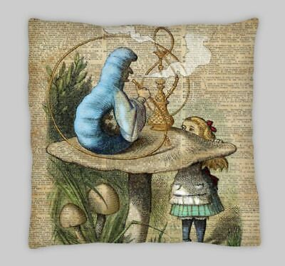 Vintage Alice In Wonderland Linen Cushion Cover 18x18 Inch • 7.25£