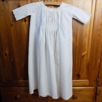 £14.99 • Buy ANTIQUE CHRISTENING GOWN Victorian Baby Embroidery Long Cotton Linen Whitework +