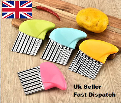 £3.99 • Buy Stainless Steel Potato Chip Salad Vegetable Crinkle Cutter Kitchen Cutting Tool