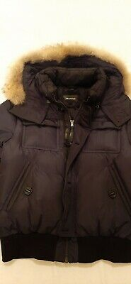 $250 • Buy Mackage Mens Classic Bomber Down Jacket Navy Sz 42 M Fur-Trimmed Removable Hood