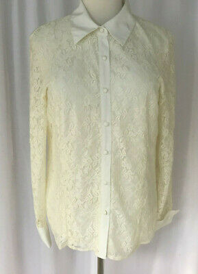 Notations Ivory Lace Lined Long Sleeve Blouse Sateen Collar And Cuffs XL • 10.01£