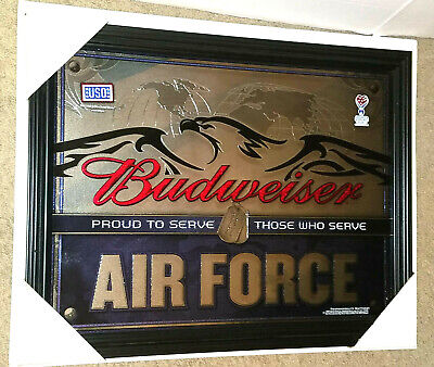 $ CDN252.57 • Buy Budweiser United States Air Force Mirror (new) Eagle And Dog Tags Beer Sign