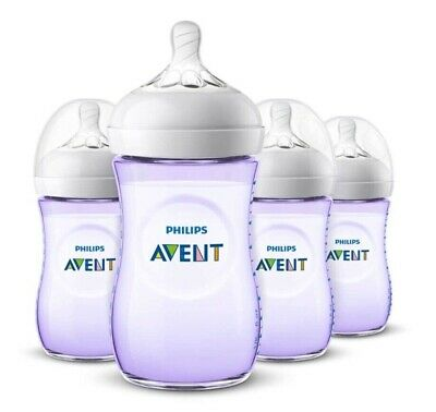 AU37.66 • Buy PHILIPS AVENT Natural Baby Bottle 4 Pack 260 ML 9 Oz Latch-On 1 Month+  Purple