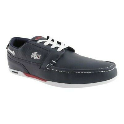 Lacoste Mens Dreyfus Sneakers Boat Shoes Dark Blue White 8 M US • 49.65£