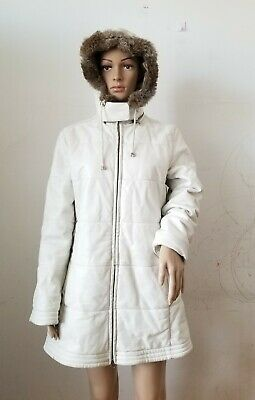 $ CDN95 • Buy Danier White Leather Full Zip Coat With Rabbit Fur Hood Lining, Small