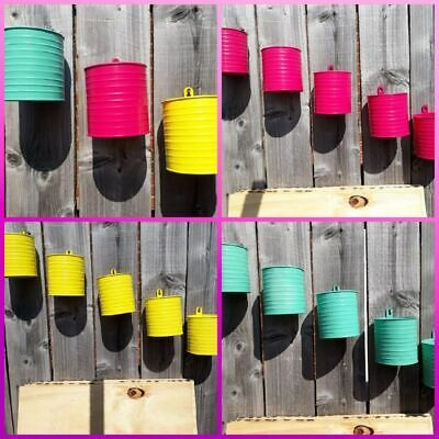 5 Pcs Colorful Metal Hanging Flower Pots Garden Wall Fence Plant Planter Hanging • 9.99£