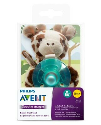 AU19.77 • Buy Philips Avent Giraffe Pacifier Soothie Snuggle Plush Animal ( 0 -3 M ) NEW