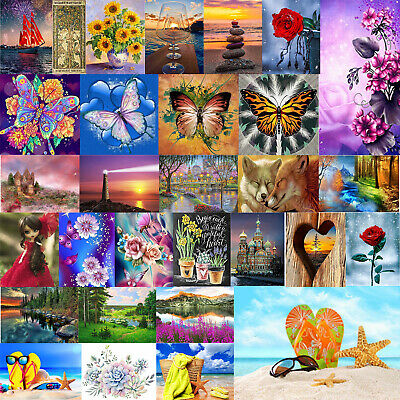 AU13.95 • Buy Diamond Painting 5D Full Round Craft Wall  Picture Of Rhinestone Kit Home Decor