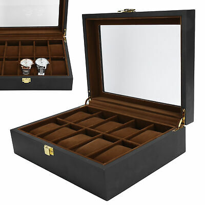 $ CDN36.05 • Buy Watch Storage Box Gift Jewelry Case 10 Grids Organizer Wooden Watch Container