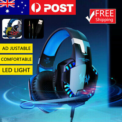 AU22.99 • Buy 3.5mm Gaming Headset MIC LED Headphones Surround For PC Mac Laptop PS4 Xbox On