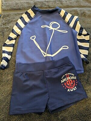 Boys UV SUN PROTECTION Swimming Suit Top & Shorts~Anchors/Blue~Age 6-12 Months • 3£