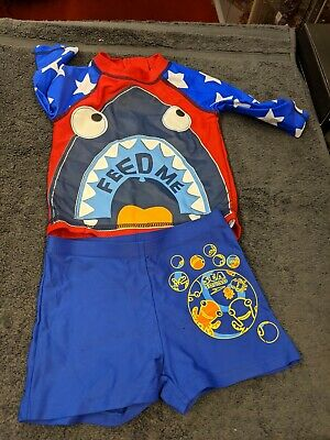 Boys UV Sun Protection Swimming Suit (Top & Shorts)~Blue/Sea Squad~Age 2 • 3£