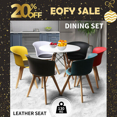AU299.99 • Buy Dining Table Chairs Set Round Café Kitchen Office Meeting Wooden Leg Modern Seat