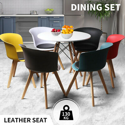 AU269.99 • Buy Dining Table Chairs Set Round Café Kitchen Office Meeting Wooden Leg Modern Seat