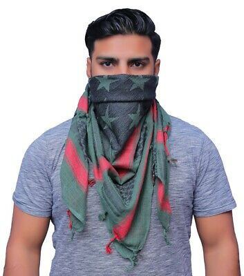 $9.99 • Buy Shemagh Military Army Scarf Tactical Green Black And Red Star Patern Keffiyeh