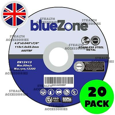 £6.99 • Buy 20 X 115mm 4.5  ULTRA THIN METAL CUTTING BLADE DISC 1/2  STEEL & STAINLESS 1MM
