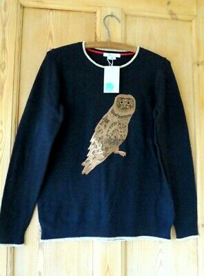Boden Owl Sequinned Jumper Sz Large Navy  • 44£