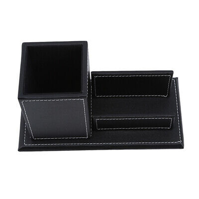 £9.60 • Buy Multifunctional 2 Grids Desk Pen Card Holder Leather Office Organizer Box RE