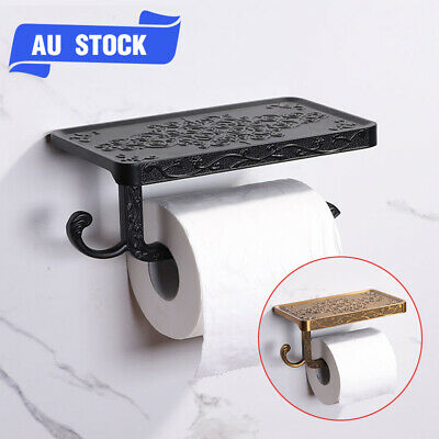 AU20.79 • Buy Wall Mounted Toilet Paper Holder W/ Phone Shelf Bathroom Tissue Roll Dispenser