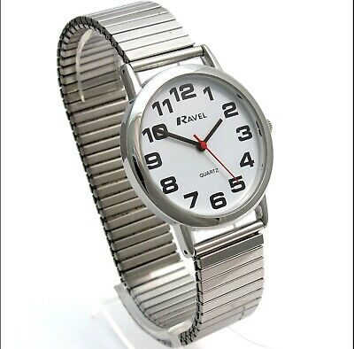 £8.45 • Buy Ravel Men's Ladies Large Dial Clear White Face Watch Expander Strap