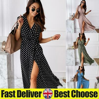 ✅Womens Boho Short Sleeve Polka Dot V Neck Midi Dress Ladies Summer Wrap Dresses • 11.39£
