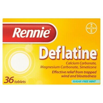 Rennie Deflatine 36 Tablets For Trapped Wind And Bloating UK PHARMACY STOCK • 7.29£