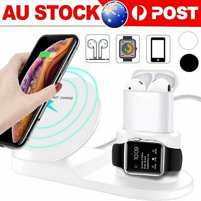 AU26.90 • Buy 3in1 QI Wireless Charger Charging Station Dock For Apple Watch / IPhone/ AirPod